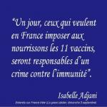 Santé publique : Vaccins, déclaration fracassante d'Isabelle Adjani sur France Inter !