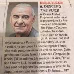 """L'image du jour  Michel Fugain : Il descend """"The voice"""""""