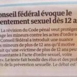 Suisse : Le conseil fédéral évoque le consentement sexuelle dès 12 ans