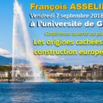 François Asselineau : SALLE ARCHI-COMBLE AVEC 126 PERSONNES POUR MA CONFÉRENCE À L'UNIVERSITÉ DE GENÈVE LE 7 SEPTEMBRE 2018!