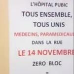 """Mouvement social : Débrayage du personnel hospitalier avec ce slogan : """"14 novembre 0 bloc"""""""